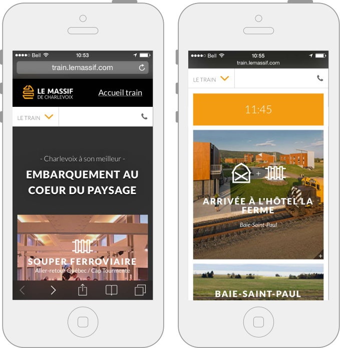 Version mobile, site Web du Train de Charlevoix