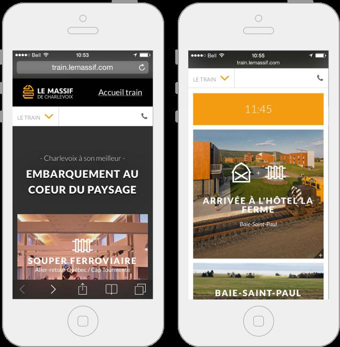 Version mobile, site Web du Train de Charlevoix