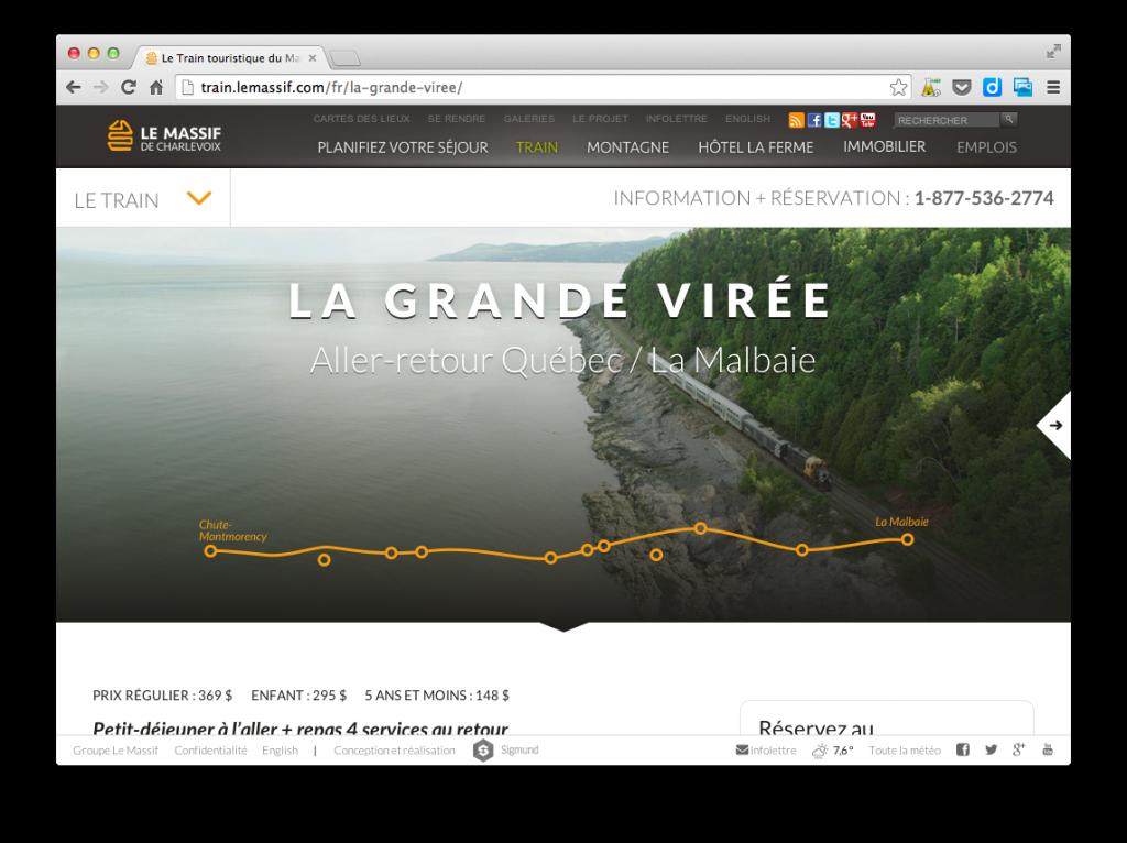 Nouveau site Web du Train du Massif de Charlevoix