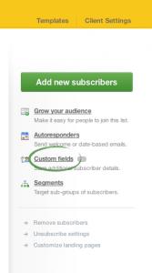 Campaign Monitor: saisi d'écran démontrant l'emplacement du lien Custom Field